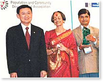 His Excellency Mr. Thaksin Shinawatra with Dr. Pragnya Ram and Mr. Ahmer Sultan
